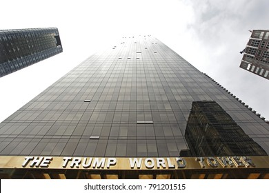 New York, USA - 04 27 2017: The Trump Wolrd Tower on 1st Avenue in New York on a cloudy Day