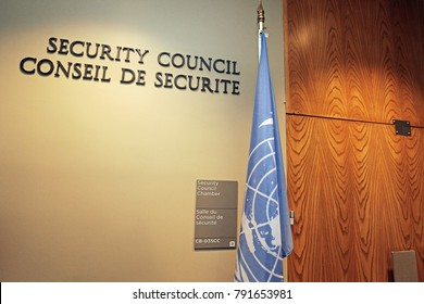 New York, USA - 04 27 2017: The Security Council Chamber's Door of the United Nations Headquarters Building with UN Flag