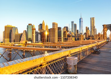New York, New York / USA - 05 24 2018: Manhattan skyline from Brooklyn Bridge park