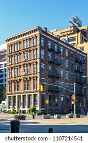 New York, New York / USA - 05 24 2018:  Brooklyn neighbourhood, Dumbo streets and buildings