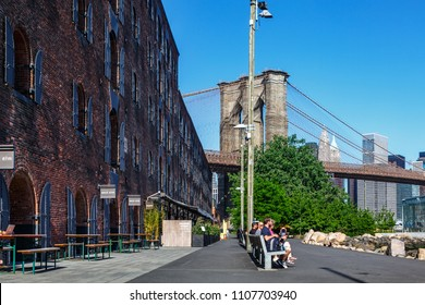 New York, New York / USA - 05 24 2018:  Brooklyn neighbourhood, Dumbo streets and buildings