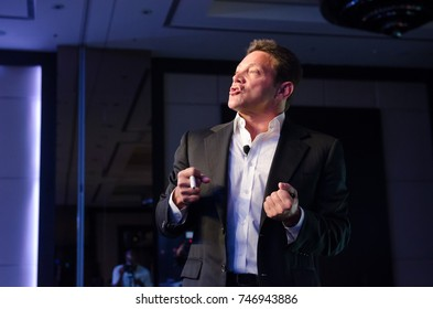 new york, usa, 05/07/2015, Jordan belfort  the real wolf of wall street, holds a seminar to reveal his life, telling his story about  stealing millions of dollars through the penny stock market.