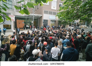 New York, New York / USA - 05,18,2018:  Protesters surround the residence of Attorney Aaron Schlossberg, the NY Attorney who went viral with a racist rant in midtown.