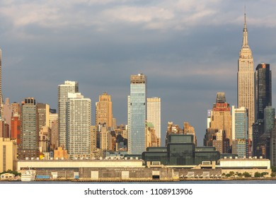 New York, New York / USA - 06 08 2018: Manhattan skyline view, skyscrapers in midtown, uptown, downtown. View from New Jersey side.