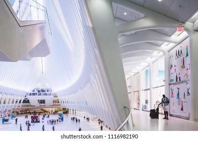 New York, New York / USA - 06 17 2018: World Trade Center Oculus, public store and subway station.