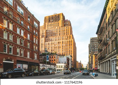 New York, New York / USA - 06 17 2018: Manhattan streets, broadway in Chelsea, historic buildings.