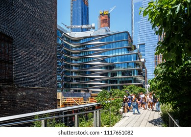 New York, New York / USA - 06 17 2018: Manhattan, High Line park, view on buildings, Zaha Hadid home.