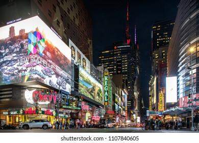 New York, New York / USA - 06 06 2018: Manhattan street at nighttime, Time Square district