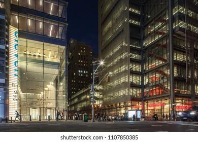 New York, New York / USA - 06 06 2018: Manhattan street at night time