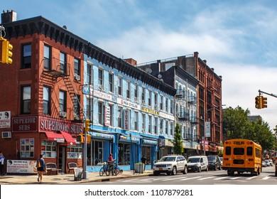 New York, New York / USA - 06 06 2018: New York city street, view on buildings facade