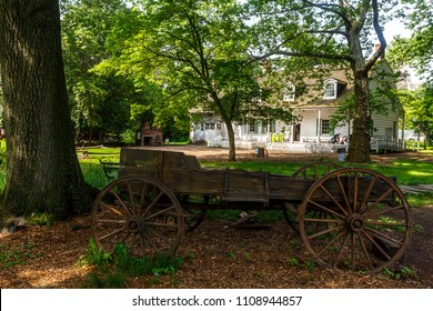 New York, New York / USA - 06 06 2018: old wooden waggon in Brooklyn prospect park