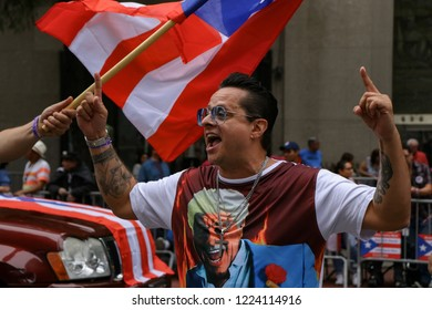 New York , New York /USA -06/10/2018 Tito Puente Jr. ,  the son of mambo musician Tito Puente enjoying the day at New York Cities annual Puerto Rican Day Parade.