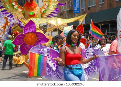 New York, New York / USA -06/24/2018 The New York City pride parade. The Heritage of Pride March and Festival is both a celebration of the diversity of LGBT culture and a protest against anti-LGBT