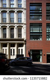 New York, New York / USA - 07 8 2018: Manhattan streets, historic buildings.