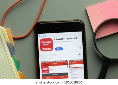 New York, USA - 1 December 2020: il Kovalev Zanichelli mobile app icon on phone screen top view, Illustrative Editorial.