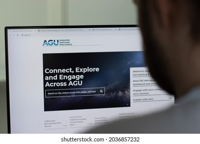 New York, USA - 1 May 2021: American Geophysical Union AGU company website on screen, Illustrative Editorial