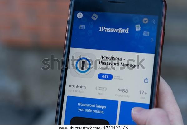 New York, USA - 1 May 2020: 1Password Password Manager app logo close-up on phone screen, Illustrative Editorial.