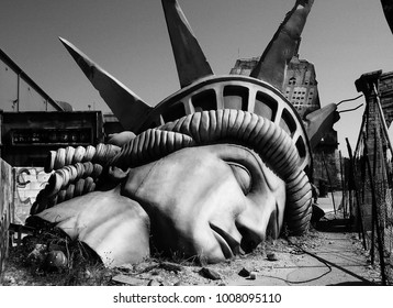 New York, USA - 11 02 2015 - The end of the world. Apocalyptic vision of the future world. The photo was taken in an amusement park.
