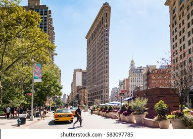 New York, USA - 11 August, 2016: View of famous Flatiron Building in midtown Manhattan New York.