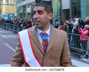 "New York, New York / USA 11/11/2018 Retired U.S. Army Capt. Florent ""Flo"" Groberg is a Medal of Honor recipient ) and is serving as Grand Marshall in New York City Veterans Day Parade ."