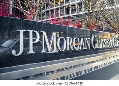 New York - USA - 11-25-2018: JP Morgan Chase sign