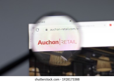 New York, USA - 15 February 2021: Auchan Retail website in browser with company logo, Illustrative Editorial