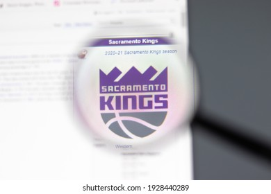New York, USA - 15 February 2021: Sacramento Kings website in browser with company logo, Illustrative Editorial