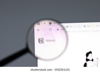 New York, USA - 15 February 2021: Notion website in browser with company logo, Illustrative Editorial