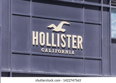 NEW YORK, USA - 15 MAY, 2019: The logo of the clothes brand Hollister California in New York