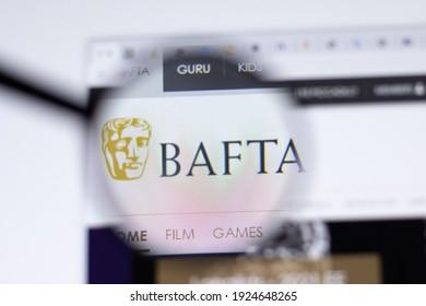 New York, USA - 17 February 2021: BAFTA Awards logo close up on website page, Illustrative Editorial