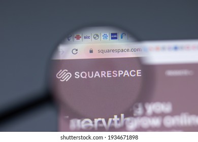 New York, USA - 17 February 2021: Squarespace logo close up on website page, Illustrative Editorial