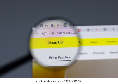 New York, USA - 17 February 2021: Snap Inc logo close up on website page, Illustrative Editorial