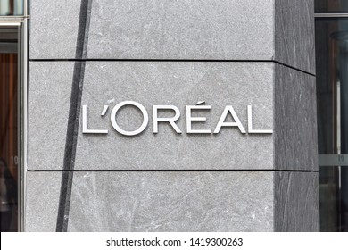 NEW YORK, USA - 17 MAY, 2019: Logo of the Loreal French personal care company on a building in New York office. The LOreal Group is a French company active in the cosmetics and beauty