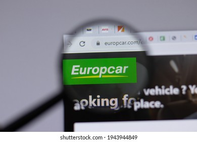 New York, USA - 18 March 2021: Europcar company logo icon on website, Illustrative Editorial