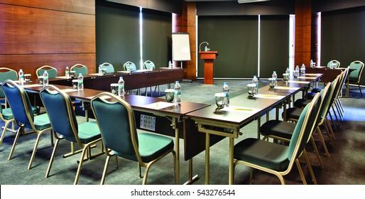 New York, USA - 18 November 2016 - Chairs, tables, speech platform, meeting room.