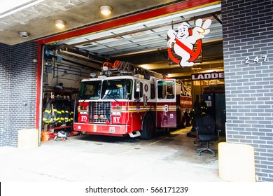 New York, USA - 18 October, 2016: Red fire truck standing in department garage