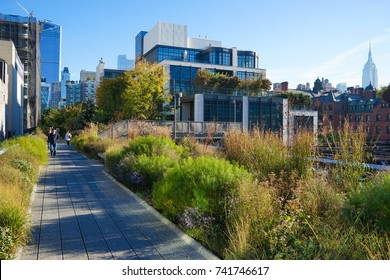 New York, USA - 18 October 2017. The High Line Park in Fall