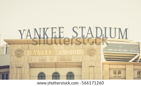 New York, USA - 18 October, 2016: Yankee stadium in daylight. Horizontal outdoors shot