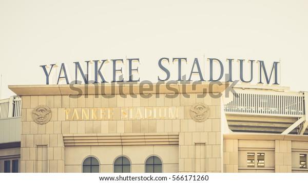 New York, USA - 18 October, 2016: Yankee stadium in daylight. Horizontal outdoors shot