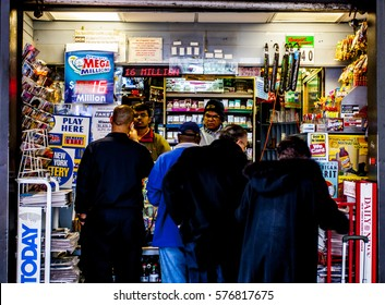 New York, USA - 20 March, 2009: Small local shop selling newspapers, cigarettes and lotto tickets at Penn Station