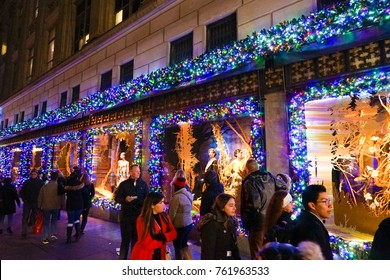 New York, USA - 20 November 2017. Saks Fifth Avenue's magical Snow White-themed 2017 holiday windows and light show display