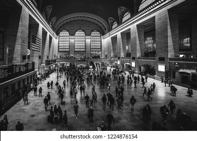 NEW YORK, USA - 20 OCTOBER 2018: Grand Central Terminal is a railroad terminal at 42nd Street and Park Avenue in Midtown Manhattan, New York USA