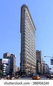 NEW YORK, USA - 2012:  The Flatiron Building, completed in 1902, is an iconic landmark in a vibrant commercial district, as seen in New York circa 2012.