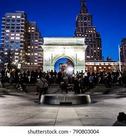New York, New York / USA - 2016: Protestors in Washington Square Park under Washington Square Arch