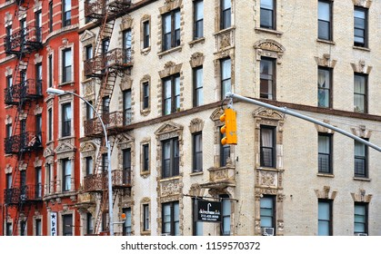 New York USA,  22.05.2016.  old colorful classic buildings, facade, balcony, architecture and windows in East Village , Manhattan