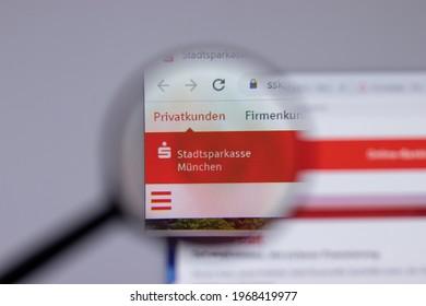 New York, USA - 26 April 2021: Stadtsparkasse Munchen company logo close-up on website page, Illustrative Editorial