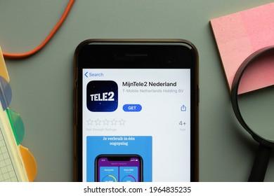 New York, USA - 26 March 2021: MijnTele2 Nederland mobile app logo on phone screen close up, Illustrative Editorial