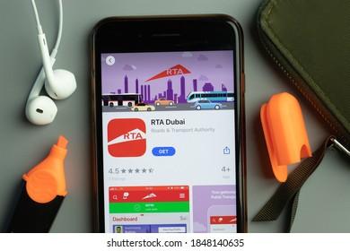 New York, USA - 26 October 2020: RTA Dubai mobile app icon logo on phone screen close-up, Illustrative Editorial.