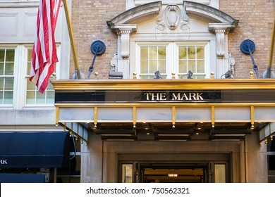 NEW YORK, USA. 28 OCTOBER 2017. Exterior of The Mark Hotel on the Upper East Side