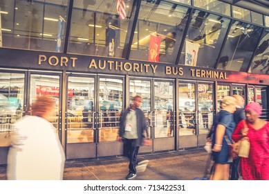 New York, USA - 28 September, 2016: Pedestrians outside the busy Port Authority Bus Terminal. The Port Authority Bus Terminal is the main gateway for interstate buses into Manhattan in New York City.